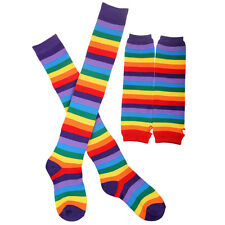 Party Adult Rainbow Striped Knit Thigh High Socks and Fingerless Gloves Set Punk