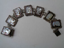 VINTAGE 800 SILVER CARVED CAMEO ROMAN GODS MOTHER OF PEARL BRACELET