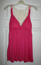 Pink Rose Womens Pink Solid Crochet Back Tank Top Tunic Juniors L BHFO