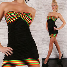 Womens Strapless Summer Striped Bandeau Neon Beach Sexy Mini Dress size 8 10