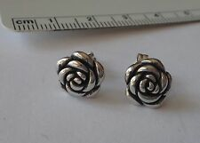Sterling Silver Small 9 mm Diameter Rose Flower Stud Earrings!