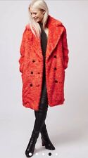 Topshop RED FAUX FUR FLUFFY Longline Coat Uk12