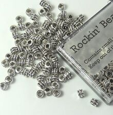 100 4x3mm 2mm Hole Rondelle Barrel Beads Antiqued Silver Cast Pewter Metal