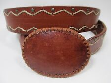 Express Genuine Leather Belt Oval Buckle Brass Riveted Stitched Pattern 35-40""