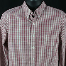 Brooks Brothers Mens Large Button Down Shirt Micro Plaid Checks Red Flip Cuff