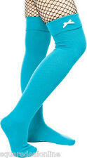 "78544 Teal Bow 20"" Long Thigh High Adult Socks Sourpuss Derby Lolita Cute NEW"