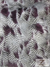 FEATHER/FEATHERD FAUX FUR FABRIC - Aubergine (LONG PILE) -34.99/YRD SOLD BTY