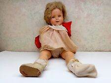 "1930's Vintage 18"" Shirley Temple Composition Doll Pink Dress Red Scarf"