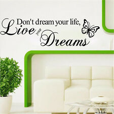 Live Your Dreams PVC Art Decal DIY Decors Quote Home Walls Sticker Removable