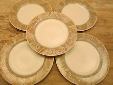 "Set 5 EPOCH Collection PANAMA Pattern 10.75"" DINNER PLATES Palm Leaf Leaves Tan"
