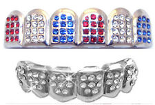 Hip Hop Silver Mouth Teeth Grillz Upper & Lower Set - Red White Blue USA