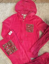 Victoria Secret PINK Velour Zip hoodie & pant set! Gold Sequin BLING M