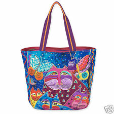 Laurel Burch Cats With Butterflies Purple Fushia Teal Shoulder Tote Lg Bag NWT