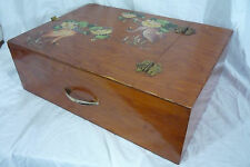 Vintage Hand Made Wood Artist Paint Box Writer's Carrying Case w/ Handle & Feet