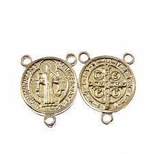 St. Benedict center metal for rosary beads part silver 2cm Catholic centre