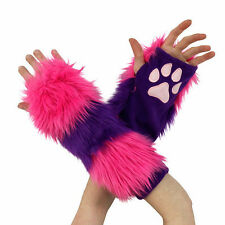 PAWSTAR Cheshire CAT Paw Arm Warmers Fingerless Gloves Pink Purple [CLA] 3150