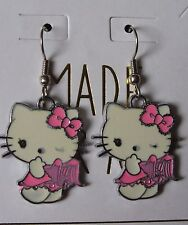Hello Kitty Dangle Fashion Earrings~Pink Winking Angel~Enamel Charms~French Hook