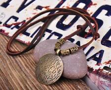 Brown Cool Round Metal Pendant Leather Long Necklace Mens Adjustable