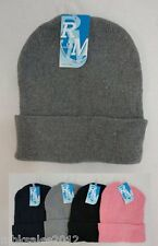 Bulk lot 12 Assorted Solid Color Winter Knit Toboggan Beanie Hats Caps 4 Colors