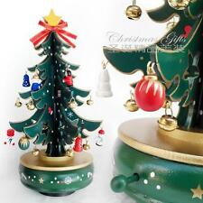 Wooden Christmas Tree Rotating Music Box DIY Toys Christmas Gift Decorations GR