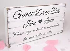 Personalised Guest Drop Box Free Standing Vintage Wedding Sign Shabby but Chic