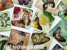 Mixed Square Butterfly Glass Cabochon 25mm - Mosaic Tiles Supplies Art Craft