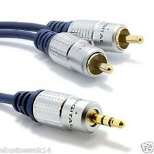 5M Meter OFC Gold Plated Male Aux 3.5mm Jack Audio Plug to twin 2x RCA Cable UK
