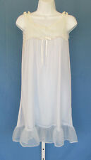 VINTAGE 1950s BABY DOLL NIGHTIE NEGLIGEE LIGHT BLUE LACE TRIM BOW NYLON SIZE M