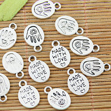 32pcs Tibetan silvertone made with love hand charms EF1361