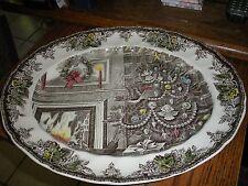 "Johnson Bros. Friendly Village Christmas 15 1/4"" Oval Scalloped Platter England"