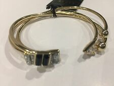 NEW WOMEN'S LIPSY LONDON SET OF 3 GOLD METAL BANGLES BRACELETS - N WITH T