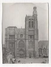 PHOTO originale Vintage 1909 - SENS FRANCE YONNE Cathédrale Tour Vitraux Façade