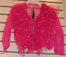 GIRL'S FANCY BLOUSE/JACKET HOT PINK  for 2, 3, 4  YR OLD,  pearls, sheen & lace
