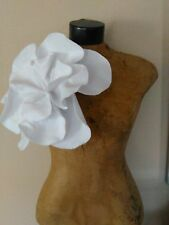 White Felt Oversized Rosette Magnet Pin Brooch
