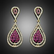 Bc041-A Purple Drop crystal rhinestone Drop party prom wedding Earring Stud