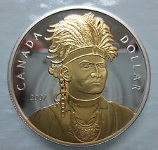 2007 CANADA THAYENDANEGEA (JOSEPH BRANT) PROOF SILVER DOLLAR GOLD PLATED COIN -A