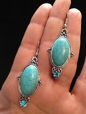 Earrings Silver Turquoise Hippie Bohemian Ethnic Boho Festival Tribal Bohemian