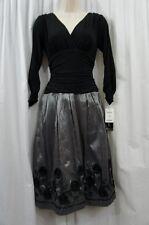 SL Fashions Dress Sz 8 Black Silver Soutache Evening Dinner Cocktail Party Dress