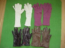 VTG Lot 4 Winter Gloves Smart Set Leather/Cherry & Webb/Aris Knit/Hanes Small 7
