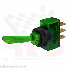 Green 12 Volt Illuminated Flick On/Off Toggle Switch Race Car Rally Car Kit Car