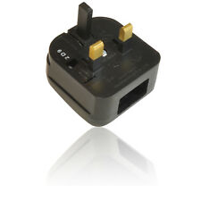 2 Pin US/ USA/ American Plug to 3 Pin UK Mains Adapter  Fused 10 Amp/ 240V BLACK