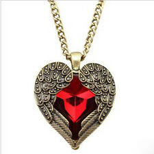 Hot Fashion Vintage Red Rhinestone Heart Angel Wing Pendant Necklace USYM