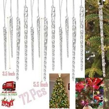 72 Clear Glass Icicle Crystal Twisted Christmas Ornaments Hanging Tree Decor Win