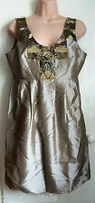 Pied A Terre Sequin Taffeta Tafetta Dress Gold Size 12