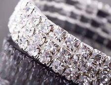 Shiny 3 Row 9K White Gold Zirconia STRETCH Tennis Wedding Bracelet B035