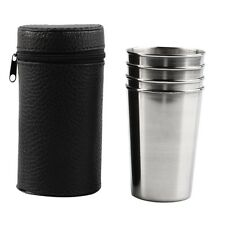 1 Set of 4 Stainless Steel Camping Big Cup Mug Drinking Coffee Tea With Case UK