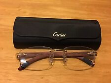 CARTIER ENGRAVED WOOD GOLDEN finish Eyeglasses Frames Size 52