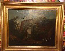 Scuola Romana inizio 700 olio su Tela Alla porta della Citta' cm 44x36