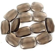 30x24mm Smoky Glass Quartz Slab Freeform Faceted Nugget Beads 16""