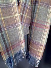 Mulberry Scarf Ancient tartan Oversized Wool Heather Blue Purple Grey Tweed